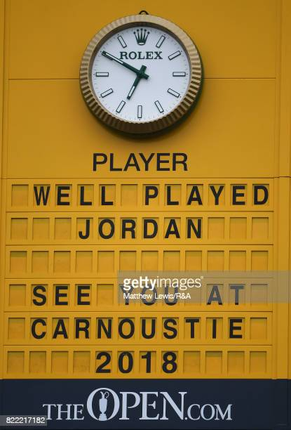 A view of the scoreboard congratulating Jordan Spieth of the United States after he won the 146th Open Championship at Royal Birkdale on July 23 2017...