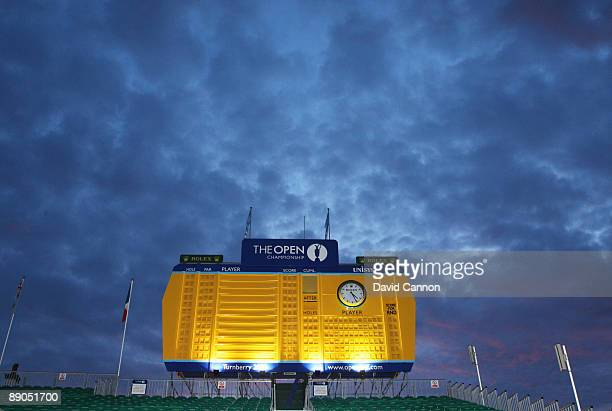A view of the scoreboard during round one of the 138th Open Championship on the Ailsa Course Turnberry Golf Club on July 16 2009 in Turnberry Scotland
