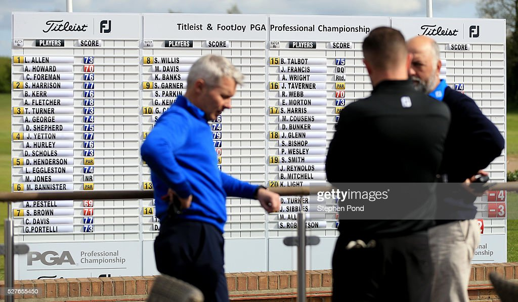 A view of the scoreboard during the PGA Professional Championship East Qualifier at Gog Magog Golf Club on May 3, 2016 in Cambridge, England.