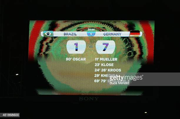A view of the scoreboard showing Germany's victory with a final score of 71 during the 2014 FIFA World Cup Brazil Semi Final match between Brazil and...