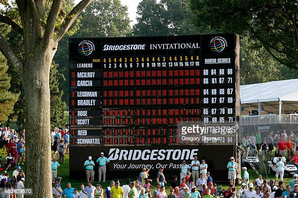 A view of the scoreboard showing Rory McIlroy of Northern Ireland as the winner with a score of 15 during the final round of the World Golf...