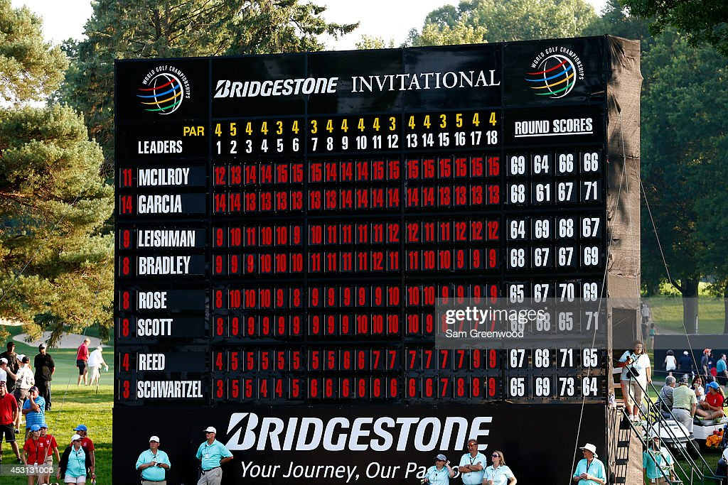 A view of the scoreboard showing Rory McIlroy of Northern Ireland as the winner with a score of -15 during the final round of the World Golf Championships-Bridgestone Invitational at Firestone Country Club South Course on August 3, 2014 in Akron, Ohio.