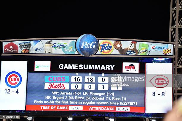 A view of the scoreboard with the final score after Jake Arrieta of the Chicago Cubs threw a nohitter against the Cincinnati Reds at Great American...