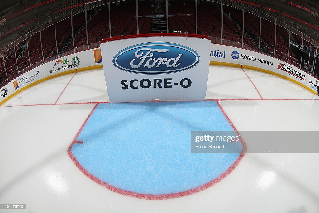 A view of the Score-O Board prior to the preseason game between the New Jersey Devils and the New York Islanders at Prudential Center on September 19, 2013 in Newark, New Jersey.