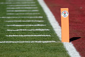 A view of the scoring pylon prior to the College Football Playoff Semifinal at the Rose Bowl Game presented by Northwestern Mutual at the Rose Bowl...