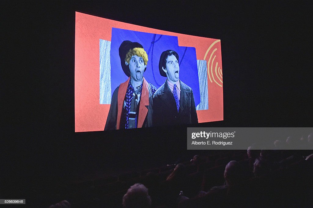 A view of the screen at 'Harold and Lillian: A Hollywood Love Story' during day 3 of the TCM Classic Film Festival 2016 on April 30, 2016 in Los Angeles, California. 25826_006