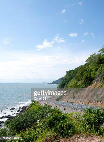 View of the Sea coastline.Road,Sea in thailand : Stock Photo