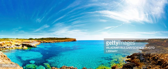 View of the sea in a bay, Mallorca, Spain