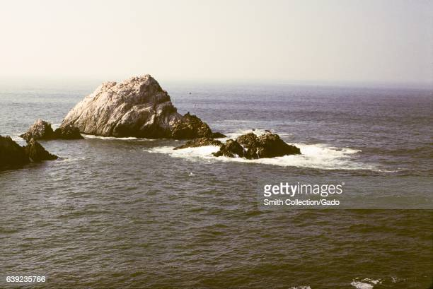View of the Seal Rocks off the coast in the Land's End neighborhood of San Francisco California 1978