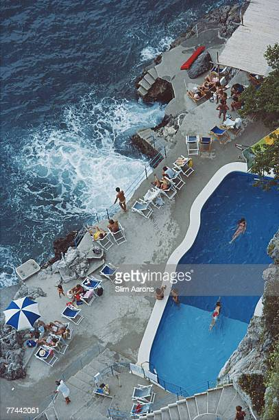 A view of the seaside pool at the Hotel St Caterina Amalfi Italy September 1984