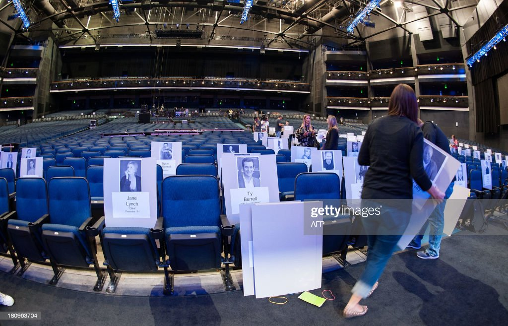 View of the seat cards inside of the Nokia Theater the Red Carpet during the 65th EMMY Awards Press Preview Day on September 18, 2013 in Los Angeles, California.