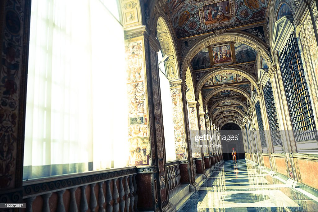 A view of the Second Lodge of the Apostolic Palace on October 7, 2013 in Vatican City, Vatican. After the success of his Social networking accounts of Twitter and Facebook, Pope Francis joined Instagram, reporting today more than 8000 followers.