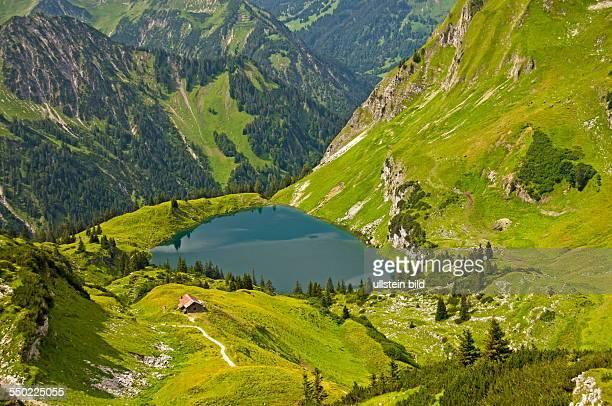 View of the Seealpsee run from the Laufbacher Eckway Nebelhorn Oberstdorf Allgaeu Bavaria Germany