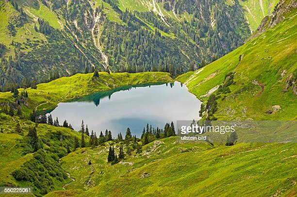 View of the Seealpsee run from the Laufbacher Eckway Nebelhorn Oberstdorf Allgaeu Bavaria Germany