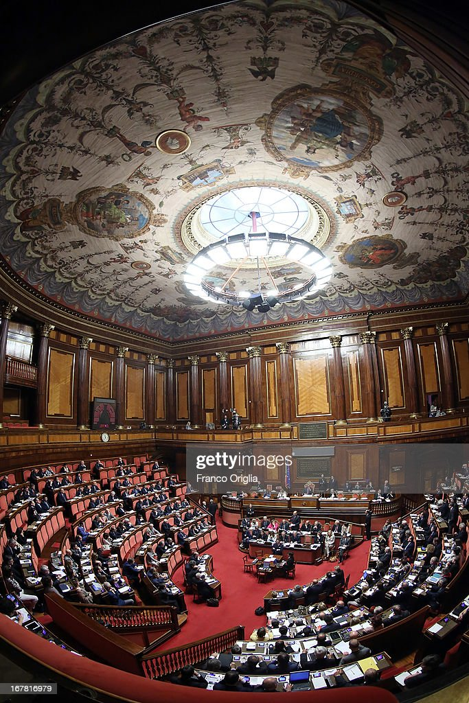 A view of the Senate during the confidence vote on April 30, 2013 in Rome, Italy. The new coalition government was formed through extensive cooperation agreements between the right and left coalitions after a two-month long post-election deadlock.
