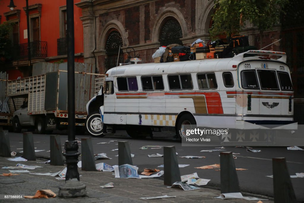A view of the set during the filming of 'Godzilla: King of the Monsters' at Santo Domingo Square on August 22, 2017 in Mexico City, Mexico.