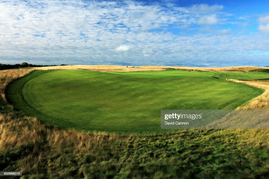 A view of the severe fall off at the back of the green on the 663 yards par 5, 18th hole at Erin Hills Golf Course the venue for the 2017 US Open Championship on September 1, 2016 in Erin, Wisconsin.
