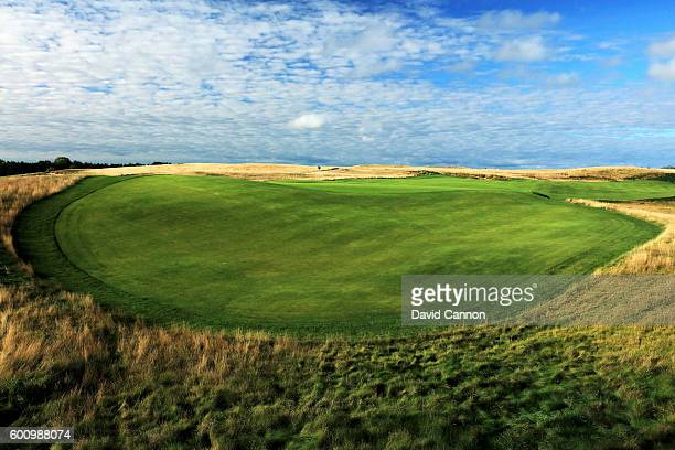 A view of the severe fall off at the back of the green on the 663 yards par 5 18th hole at Erin Hills Golf Course the venue for the 2017 US Open...