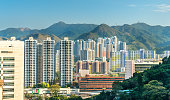 View of the Sha Tin District at East New Territories of Hong Kong. China