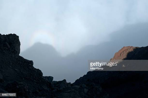 View of the shadow of the mountains onto the cloads below from the Roque de los Muchachos looking south to the Caldera de Taburiente National Park in...