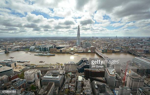 A view of the Shard and the River Thames with London Bridge HMS Belfast and City Hall seen from the Sky Garden of 20 Fenchurch Street on April 22...