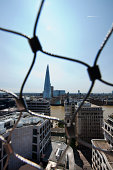 View of the Shard, London behind wire net