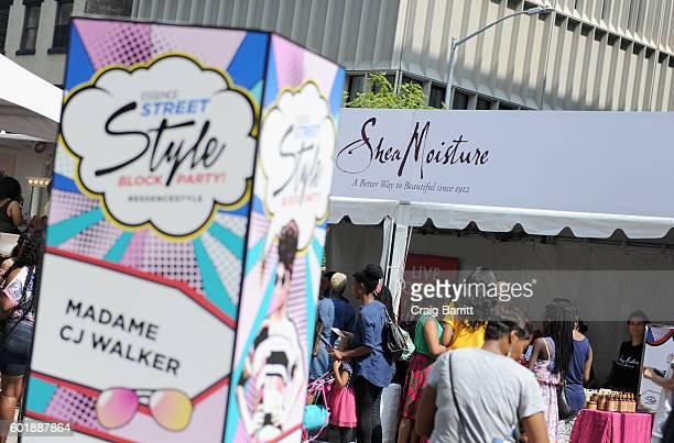 A view of the Shea Moisture booth at the 2016 Essence Street Style Block Party at DUMBO on September 10 2016 in Brooklyn Borough of New York City