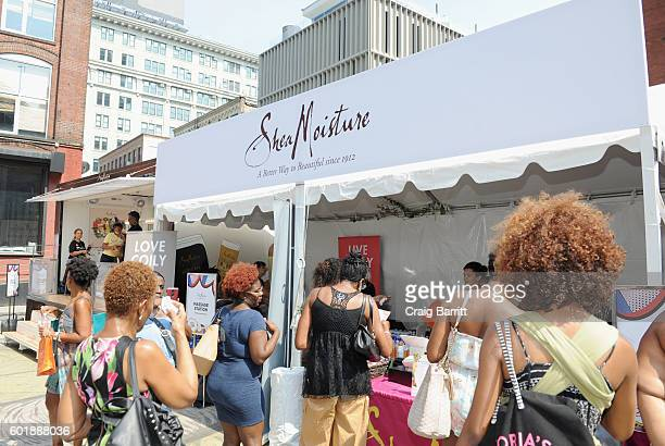 A view of the Shea Moisture booth during the 2016 Essence Street Style Block Party at DUMBO on September 10 2016 in Brooklyn Borough of New York City