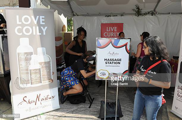 A view of the Shea Moisture massage station at the 2016 Essence Street Style Block Party at DUMBO on September 10 2016 in Brooklyn Borough of New...