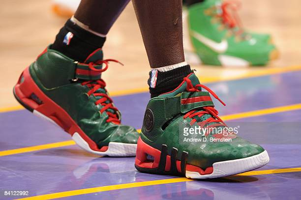 A view of the shoes of Kevin Garnett of the Boston Celtics during a game against the Los Angeles Lakers at Staples Center on December 25 2008 in Los...