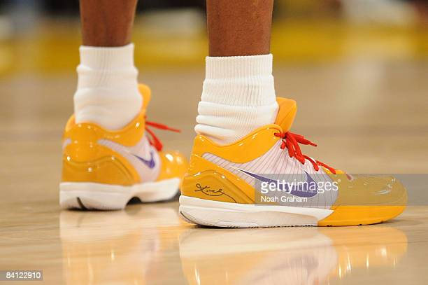 A view of the shoes of Kobe Bryant of the Los Angeles Lakers during a game against the Boston Celtics at Staples Center on December 25 2008 in Los...