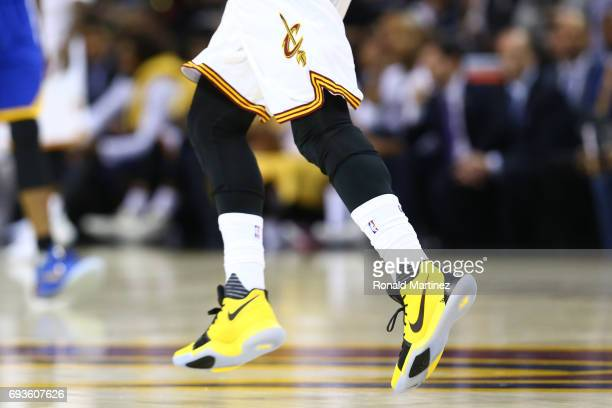 A view of the shoes of Kyrie Irving of the Cleveland Cavaliers against the Golden State Warriors during the first half of Game 3 of the 2017 NBA...
