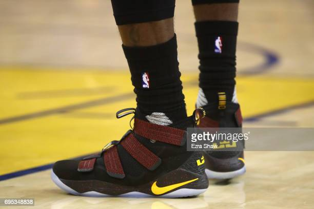 A view of the shoes of LeBron James of the Cleveland Cavaliers against the Golden State Warriors during the first half in Game 5 of the 2017 NBA...