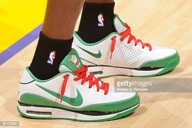 A view of the shoes of Rajon Rondo of the Boston Celtics before taking on the Los Angeles Lakers at Staples Center on December 25 2008 in Los Angeles...