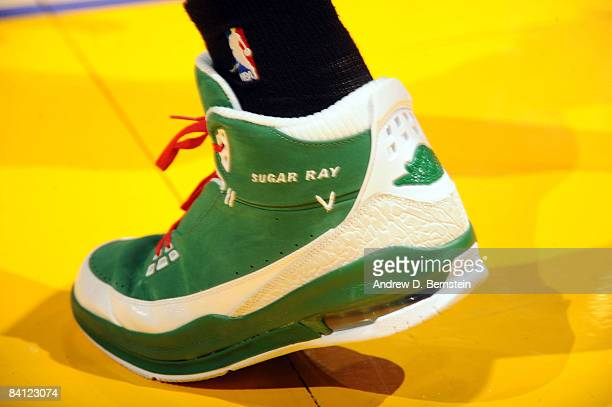 A view of the shoes of Ray Allen of the Boston Celtics during a game against the Los Angeles Lakers at Staples Center on December 25 2008 in Los...