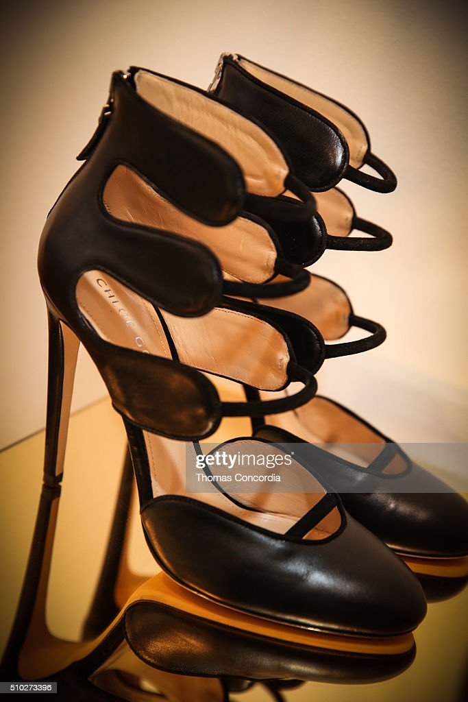 A view of the shoes on display during the Chloe Gosselin Fall 2016 Presentation at Lori Bookstein Fine Art on February 14, 2016 in New York City.