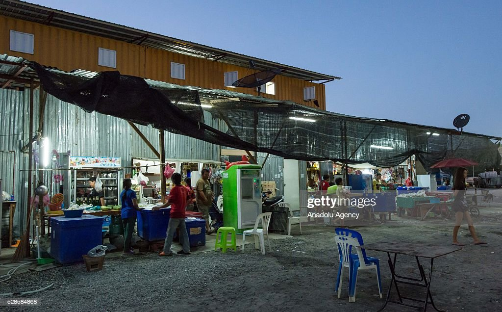 A view of the shop and restaurant at a construction workers' camp on May 6, 2016 in Bangkok, Thailand. Mainly migrants from neighboring countries, like Cambodia and Laos, live in this camp, which has grocery shops, a common washing area and even a small school, on the outskirts of Bangkok.