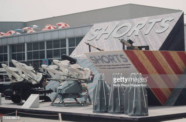 View of the Short Brothers missiles trade stand with Tigercat missile launchers on display at Le Bourget Airport during the 1971 Paris Air Show in...