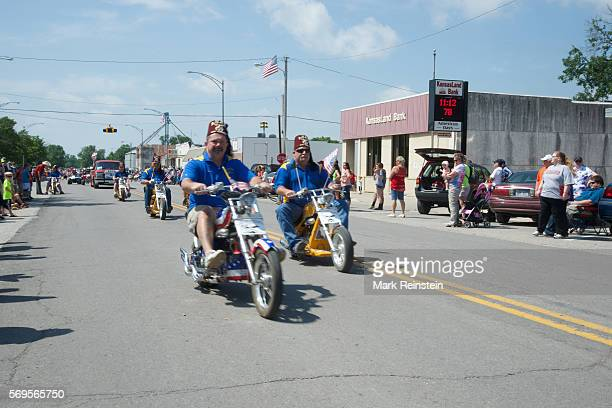 View of the Shriners 'Lil Chops' ride miniature motorcycles during the annual Americus Days parade on Main Street Americus Kansas June 14 2014