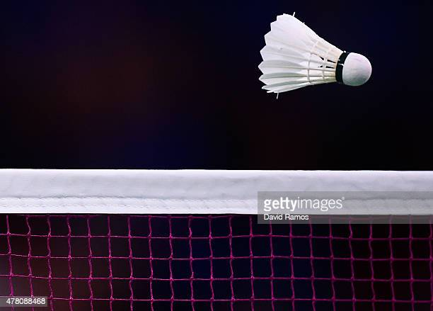 A view of the shuttle cock passing over the net during the Men's Badminton Singles matches on day ten of the Baku 2015 European Games at the Baku...