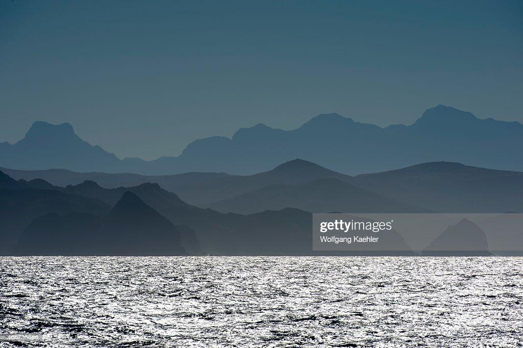 View of the Sierra de la Giganta in haze from the Sea of Cortez near Loreto Baja California Mexico