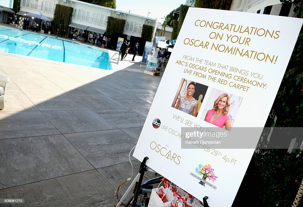 A view of the sign at the 88th Annual Academy Awards nominee luncheon on February 8, 2016 in Beverly Hills, California.