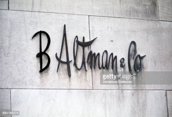 A view of the sign outside the Fifth avenue flagship department store of B Altman and Company in1976 in New York City New York