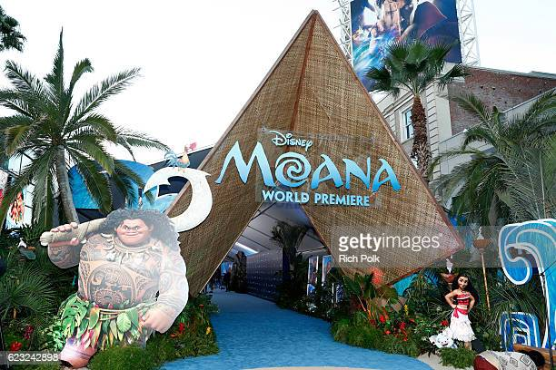 A view of the signage and displays at the world premiere of Disney's 'Moana' at the El Capitan Theatre on November 14 2016 in Hollywood California