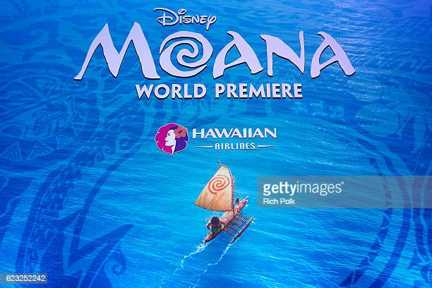 A view of the signage is seen at the Hawaiian Airlines booth at the world premiere of Disney's 'Moana' at the El Capitan Theatre on November 14 2016...