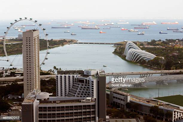 A view of the Singapore Flyer and tankers at sea on March 9 2015 in Singapore