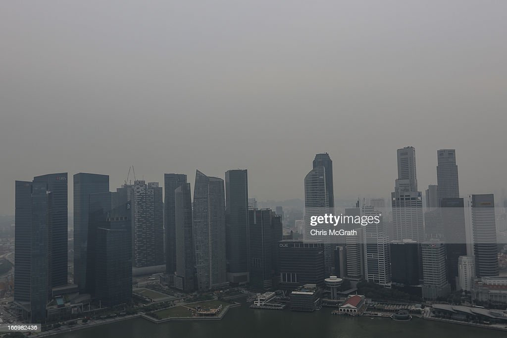 A view of the Singapore skyline covered in smoke haze on April 19, 2013 in Singapore. The haze was created by burning off in neighbouring Sumatra and caused the Pollutant Standards Index to rise, hovering between 28 and 43.