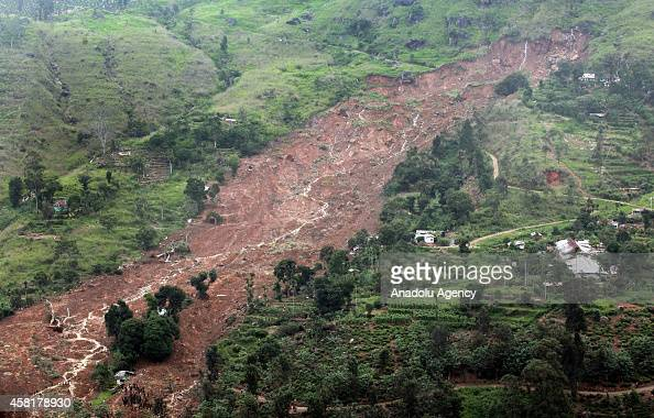 A view of the site of a landslide in the town of Koslanda in Badulla district Sri Lanka about 220 kilometers east of Colombo on October 31 2014