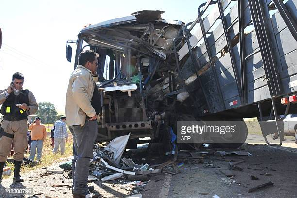 View of the site of a road accident between a bus with a lorry carrying cattle on Route Six near Monday 40 km south of Ciudad del Este Paraguay on...