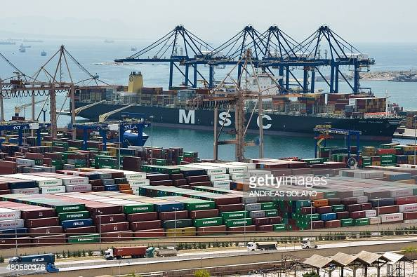 A view of the site of the cargo terminal of the Piraeus port near in Athens on July 13 2015 Dawn was breaking over Brussels and after 14 hours of...